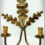 LAMPĂ ELECTRICĂ DE PERETE, APLICĂ VECHE CU 2 BRAȚE, GHINDE ȘI STEJAR DIN BRONZ! - Metal/Fonta, Ornamentale