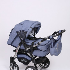 Carucior copii 3 in 1 Baby-Merc Junior Plus (blue jeans), Pliabil, Gri, Maner reversibil