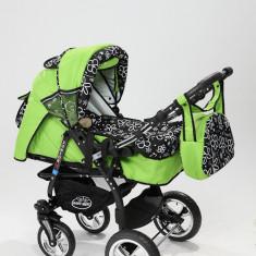 Carucior copii 3 in 1 Baby-Merc Junior Plus (verde cu imprimeu floral), Pliabil, Gri, Maner reversibil