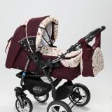 Carucior copii 3 in 1 Baby-Merc Junior Plus (bordoux cu imprimeu floral), Pliabil, Gri, Maner reversibil