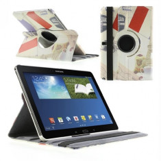Husa tip carte Paris (Steag Franta + Turn Eiffel) cu stand rotativa (MLC) pentru tableta Samsung Galaxy Note 10.1 (SM-P600 / SM-P605 3G/LTE) (2014 Ed - Husa Tableta Vodafone