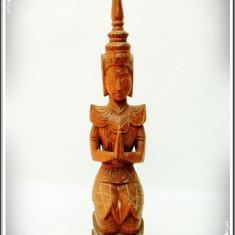 VECHE STATUETĂ HINDUSĂ SCULPTATĂ MANUAL DIN LEMN, ZEU DIN MITOLOGIA ASIATICĂ! - Arta din Asia