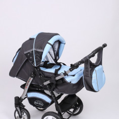 Carucior copii 3 in 1 Baby-Merc Junior Plus (gri inchis cu turcuaz), Pliabil, Maner reversibil
