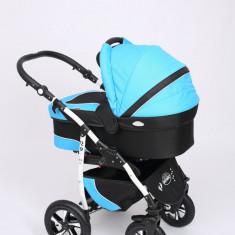 Carucior copii 3 in 1 Baby-Merc Q9 (negru cu turcuaz), Pliabil, Gri, Maner reversibil