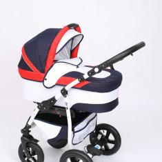 Carucior copii 3 in 1 Baby-Merc Q9 (bleumarin cu alb si rosu), Pliabil, Gri, Maner reversibil