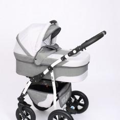 Carucior copii 3 in 1 Baby-Merc Q9 (gri cu gri deschis), Pliabil, Maner reversibil
