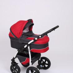 Carucior copii 3 in 1 Baby-Merc Q9 (gri inchis cu rosu), Pliabil, Maner reversibil