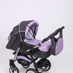 Carucior copii 3 in 1 Baby-Merc Junior Plus (gri inchis cu violet), Pliabil, Maner reversibil