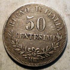 E.045 ITALIA VITTORIO EMANUELE II 50 CENTESIMI 1863 M ARGINT 2, 5g, Europa