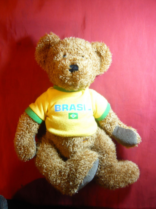 Papusa- Ursulet- Mascota Echipei de Fotbal a Braziliei , h= 33 cm-Bambia German.