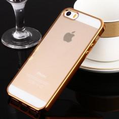 Iphone 5 5S 5SE - Husa Slim 0.3mm Silicon Auriu Gold - Husa Telefon Apple, iPhone 5/5S/SE