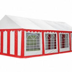 Cort evenimente profesional 4x10 m prelata PVC 500 gr/mp, alb + rosu - Pavilion gradina