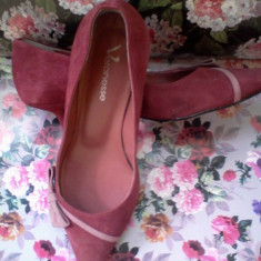 Pantofi piele intoarsa grena mar.36 made in Brazil - Pantof dama