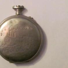 CY - Carcasa veche pentru ceas de buzunar nichel CFR locomotiva