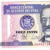 Bancnota Peru 10 DIEZ INTIS 1987 a.UNC - bancnota america