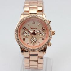 Ceas Dama Casual Luxury GENEVA Diamond Model Superb Bratara Metalica  GARANTIE