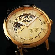 Ceas Barbati Casual Luxury Winner Mecanic Full Automatic Auriu Argintiu Negru, Mecanic-Automatic, Inox