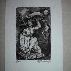 GRAVURA, MARCEL CHIRNOAGA - Pictor roman, Abstract, Cerneala