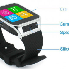 Ceas Smart Watch cu Telefon si Camera Spion Nou in Cutie, Otel inoxidabil, watchOS