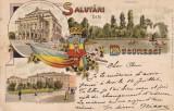 SALUTARI DIN BUCURESTI  TEATRUL NATIONAL PRIMARIA  CISMIGIU LITOGRAFIE CIRC 1896, Circulata, Printata