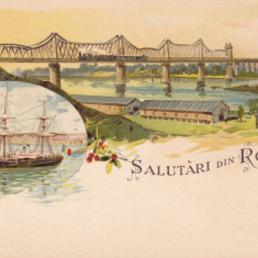 SALUTARI DIN ROMANIA CONSTANTA LITOGRAFIE PODUL DE LA CERNAVODA BRICUL MIRCEA - Carte Postala Dobrogea pana la 1904, Circulata, Printata