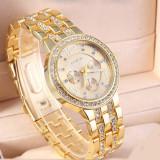 Ceas Casual Luxury GENEVA Lady Crystal Model 2016 Auriu Argintiu Roz|GARANTIE, Lux - elegant, Quartz, Inox