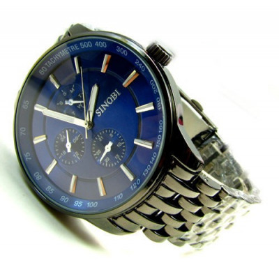 Ceas Casual Luxury SINOBI Bratara Metalica JAPAN MOVEMENT Cadran ALB ALBASTRU foto