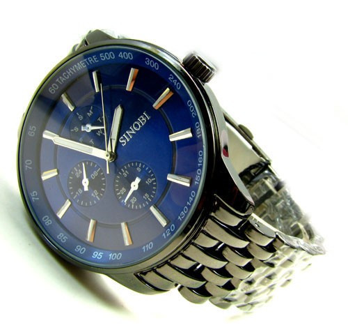 Ceas Casual Luxury SINOBI Bratara Metalica JAPAN MOVEMENT Cadran ALB ALBASTRU