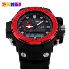 Ceas Subacvatic Sport SKMEI S-Shock Round Dual Time Japan MVT ALARMA | GARANTIE, Quartz, Inox