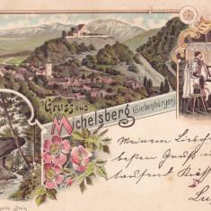 SALUTARI DIN CISNADIOARA ( TRANSILVANIA ) GRUSS AUS MICHELSBERG LITOGRAFIE 1901 - Carte Postala Transilvania pana la 1904, Circulata, Printata