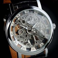 Ceas Superb Fashion Barbati Casual Luxury Winner Mecanic Skeleton Auriu Argintiu - Ceas barbatesc, Mecanic-Automatic, Inox, Piele ecologica, Analog