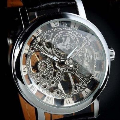 Ceas Superb Fashion Barbati Casual Luxury Winner Mecanic Skeleton Auriu Argintiu foto