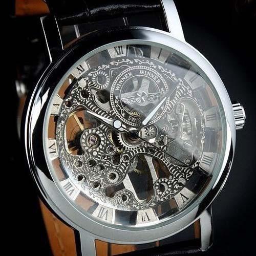 Ceas Superb Fashion Barbati Casual Luxury Winner Mecanic Skeleton Auriu Argintiu