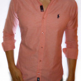 Camasa Polo by Ralph Lauren - camasa roz cu buline camasa slim fit camasa cod 16