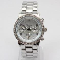 Ceas Dama Casual Luxury GENEVA Diamond Model Superb Bratara Metalica| GARANTIE
