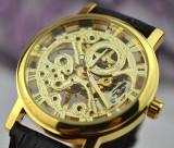 Cumpara ieftin Ceas Superb Fashion Barbati Casual Luxury Winner Mecanic Skeleton Auriu Argintiu, Mecanic-Automatic, Inox