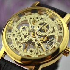 Ceas Superb Fashion Barbati Casual Luxury Winner Mecanic Skeleton Auriu Argintiu, Mecanic-Automatic, Inox