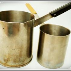 LOT 2 IBRICE DE CAFEA DIN TABLĂ GROASĂ DE INOX ALIMENTAR, CAP. 0, 5 ȘI 1 LITRU!