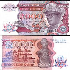 ZAIR- 2000 ZAIRES 1991- P 36- UNC!! - bancnota africa