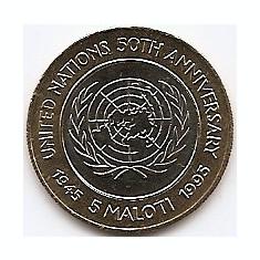 Lesotho 5 Maloti 1995 - Letsie III (50th Anniversary of UN) 24 mm KM-67 UNC !!!, Africa