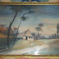Tablou semnat - acuarela (Dascalescu ?) rama veche - Pictor strain, Peisaje, Impresionism