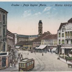 ORADEA, PIATA REGINA MARIA, MAGAZINE TRAMVAI, BANCA COM. UNGARA DIN BUDAPESTA - Carte Postala Crisana dupa 1918, Necirculata, Printata