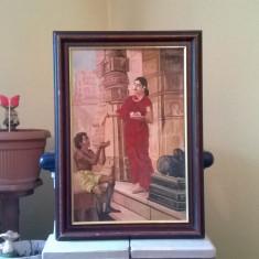 TABLOU DEOSEBIT SCENA INDIANA CERSETOR LA TEMPLU ULEI PE PANZA SEMNAT Amaranc.R - Pictor strain, An: 1960, Scene gen, Realism