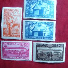 Serie Caminul Cultural Radaseni 1944 Romania ,5 val.sarniera