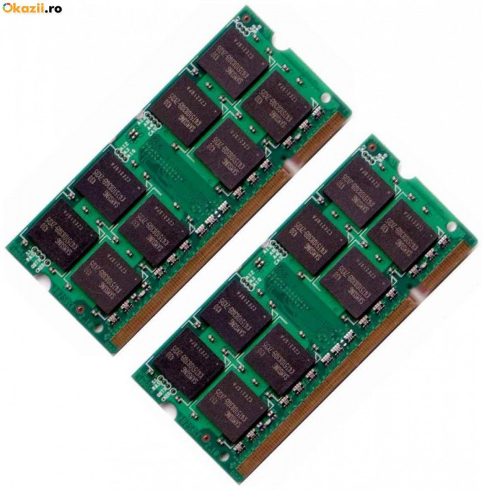 Memorii laptop RAM 2gb DDR2 (kit 2 x 1gb) Samsung PC2-5300 rami