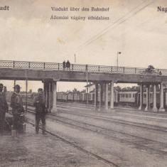 SIBIU, VIADUCTUL PESTE GARA, CALEA FERATA, TREN, CALATORI - Carte Postala Transilvania dupa 1918, Circulata, Printata