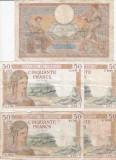 BANCNOTE FRANTA , LOT 5 BUC. 100 , 50 FRANCI , 1935/1939 , G - VG