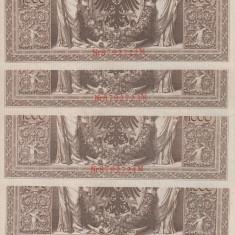 BANCNOTE GERMANIA, SERIE CONSECUTIVA, 1000 MARCI DIN 1910, UNC, 5 BUCATI - bancnota europa