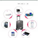 BOXA ACTIVA KARAOKE CU MICROFON WIRELESS, MP3 PLAYER CU STICK, CARD, ACUMULATOR. - Echipament karaoke