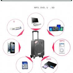 Cumpara ieftin BOXA ACTIVA KARAOKE CU MICROFON WIRELESS,MP3 PLAYER CU STICK ,CARD,ACUMULATOR.